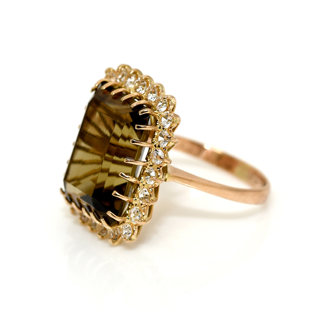 2274709c0 Smokey Quartz & Crystal Statement Ring – Kaizen Antiques & Jewellery